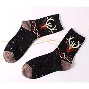 CXKWZ Damensocken Vintage Dicke Damen Damen Crew Socken Retro WinterTier Niedliche Baumwolle