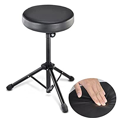 JJOnlineStore - Round Drum Throne Padded Seat Stool Stand Guitarist Drummers Music Rock Band Chair - Black
