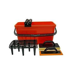 41JuojhJCtL. SS300  - Tiler profesional conjunto de herramientas Kit para alicatado lechada esponja flotante cubo rodillos 5440