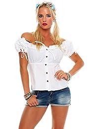 10609 Fashion4Young Dirndlbluse Bluse Trachtenbluse Dirndl Trachten Oktoberfest Trachtenkleid