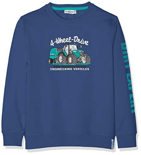 SALT AND PEPPER Jungen Sweatshirt Sweat Tractor Uni Stick Blau (French Blue 452) 104 (Herstellergröße: 104/110)