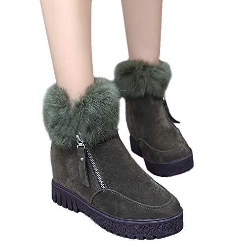 (MYMYG Warmer Stiefel Schneestiefel Boots Kunstpelz Modische Dicke Plateauschuhe Zipper Wasserdicht Runde Zehe Schuhe Plattform Slip On für Damenschuhe Plüsch Winter Draussen Warmer Stiefel Boots)
