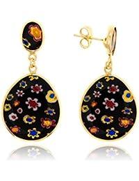 Córdoba Jewels | Pendientes en plata de Ley 925 bañado en oro. Diseño Luxury Murano Ónix