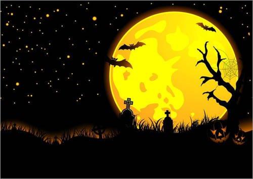 Holzbild 100 x 70 cm: Halloween Moon von (Halloween Namen Grabsteine)