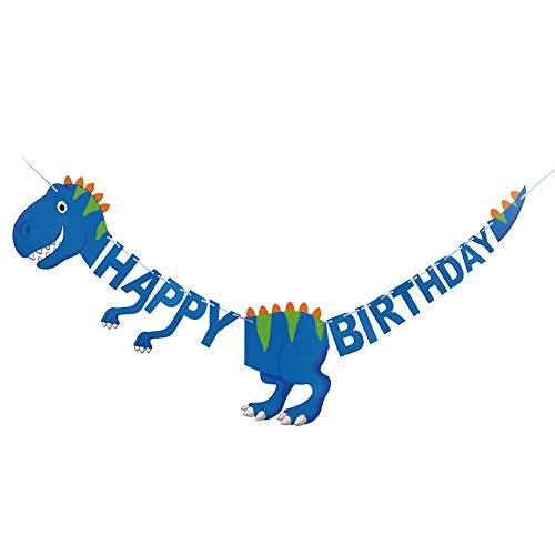 py Birthday, Karikatur Dinosaurier Banner Party Deko, Banner Geburtstag Dinosaurier, Karikatur Baby Junge Mädchen Geburtstag Party deko Happy Birthday Flagge 1 Set (Blau) ()
