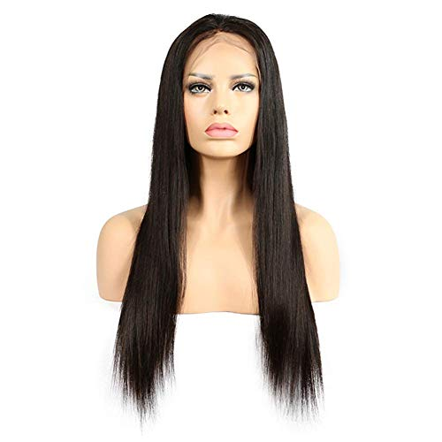 Synthetisches Perücken-Haar, Art- und Weisefrauen-vordere Spitze-Schwarz-langes gerades Haar-Mitteltrennungs-volle Perücken 22inch (Gut Männliche Aussehende Halloween-kostüme)