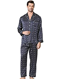 7e06121fa2 LILYSILK Long Silk Pajamas Set Men 19 Momme 100% Mulberry Silk Sleepwear  Sailor Anchor Printed