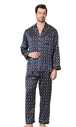 d9acf0721d1128 LilySilk Herrlich Seide Schlafanzug Hausanzug Pyjama Set Herren Lang aus  Seide von 19 Momme