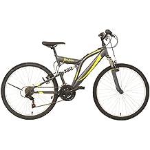 F.lli Schiano Freedom Bicicleta de montaña, 18 velocidades, doble suspension, Gris / Verde Flúor, 26''