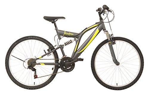 """F.lli Schiano Mountain Bike Freedom Bicicletta Biammortizzata, Grigio/Giallo opaco, 26"""""""