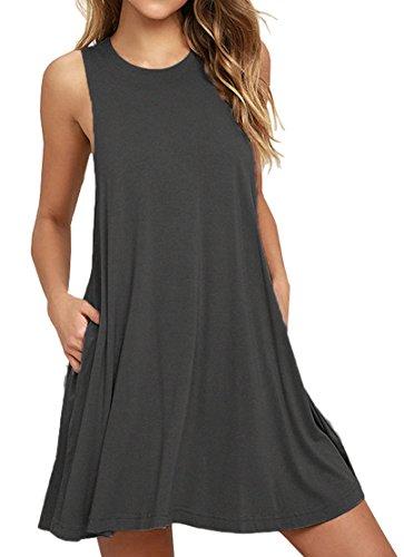 Loose-fit Ärmelloses (VIISHOW Frauen Ärmelloses Casual Loose Fit T-Shirt Tunika Kleid Swing Kleid (Grau XL))