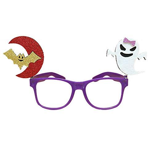 Cosanter Kinder Brillengestelle Halloween Make-Up Party Requisiten Brillen Kinderparty Zubehör (Lila Fassungen Fledermaus Geist Muster)