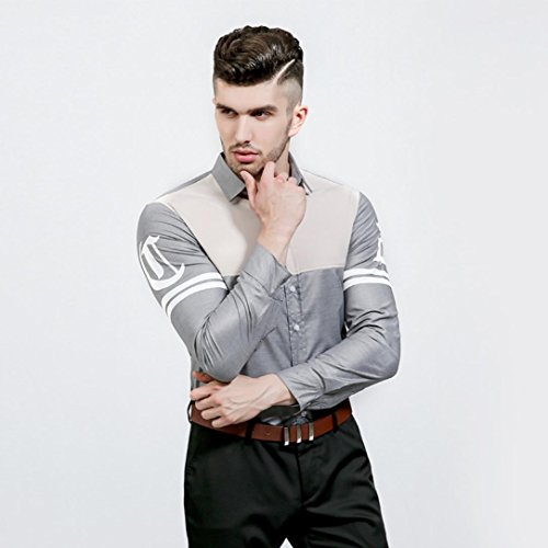 Kaiki Mens Patchwork Langarm Shirt Business Slim Fit Shirt Lässige Bluse Top Gray