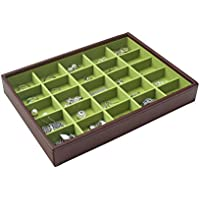 STACKERS 'CLASSIC SIZE' Chocolate Brown 25 Section STACKER Jewellery Box with Bright Green