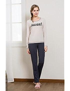 Manica lunga cotone pigiama vestaglia autunno nightwear Ultima donna , linen , l (160/84a)