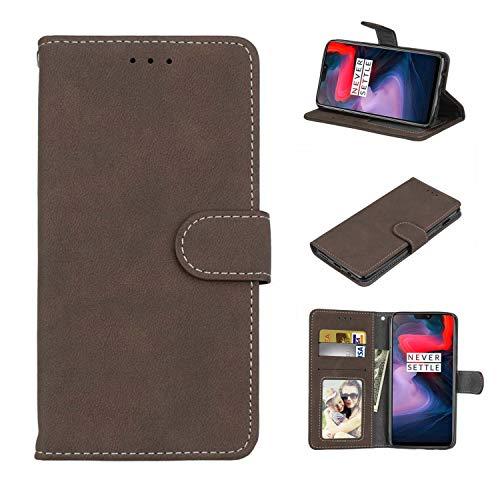 Cofola Für Lenovo Vibe P1 Hülle, Retro Frosted Leder Wallet Schutzhülle Case Cover für Lenovo Vibe P1 [Braun]