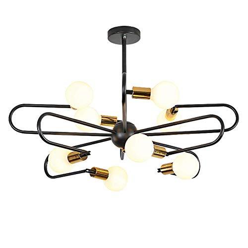 6/8-Lights-Sputnik Kronleuchter Beleuchtung, Nickel gebürstet Deckenleuchte Moderne Glaskugel Pendelleuchte für Schlafzimmer Küche Esszimmer 6 Lampen (nicht im Lieferumfang enthalten, 8Light -