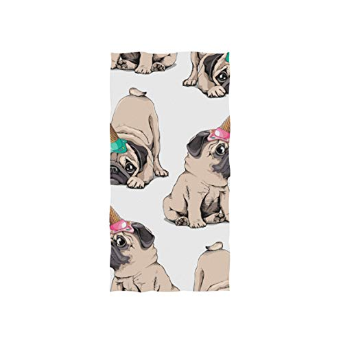 Enhusk Netter Hund Essen Kalte Eiscreme Soft Spa Strand Badetuch Fingerspitze Handtuch Waschlappen Für Baby Erwachsene Badezimmer Strand Dusche Wrap Hotel Reise Gym Sport 30x15 (Baby Eis Creme Kostüm)