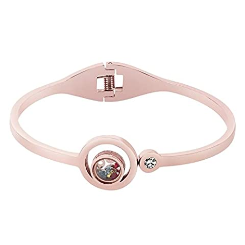 AnaZoz Bracelet Cuff Acier Inoxydable pour Femme Double Open Round with Multi Color Cristals Or Rose