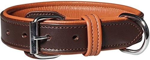 001 Leder (Knuffelwuff 13967-001 Leder Hundehalsband mit Schnallenschutz Detroit, 30-38 cm, braun)