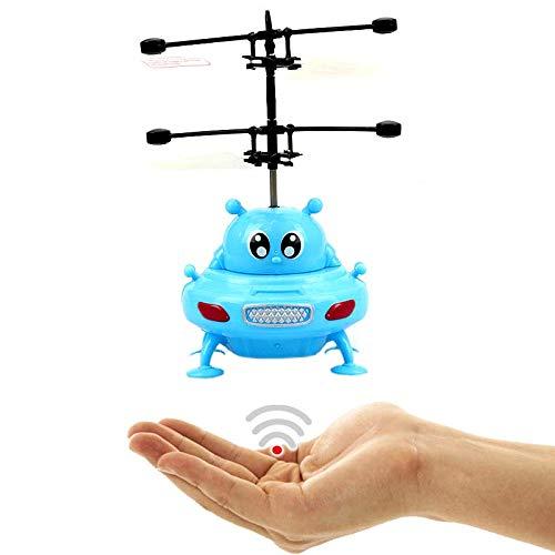 Fliegendes UFO (Blau) - ALIEN - Mit hellen LED Lichtern!Einfach zu Steuern mit der Hand ab 8 Jahren!Das Spielzeug für Jung und Alt!Der Megaspaßauf jeder Kinderparty,Astronaut,Super Hero,ET,Gadget