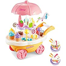 Kids SimulationToys, Ice Cream Candy Cart Juego de simulación Food Dessert Candy Trolley de Juguete