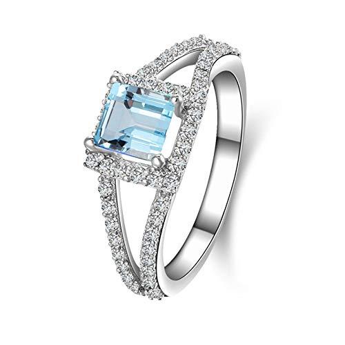 Anyeda Eternity Ring Silber 925 Damen Princess Cut 5.5X5.5Mm Blau Topaz Ring Blau Rings für Sie Ring Damen in Schmuck Ringgröße 61 (19.4)