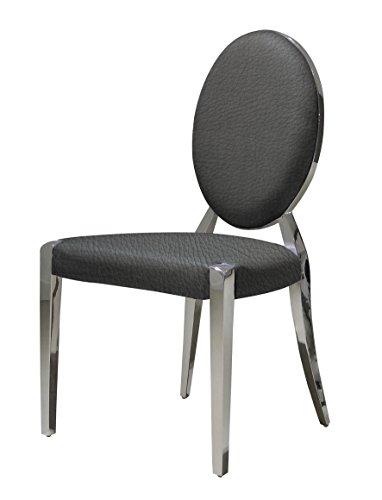 designement Angel Chaise Médaillon Acier Inoxydable Gris Foncé 48 x 56 x 93 cm