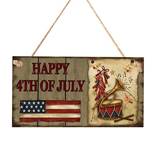 LIOOBO Glückliches Juli 4. hölzernes Plakette-Zeichen der amerikanischen Flaggen-Wandbehang für patriotische Unabhängigkeitstag-Unabhängigkeitstag-Dekorations-Verzierungen