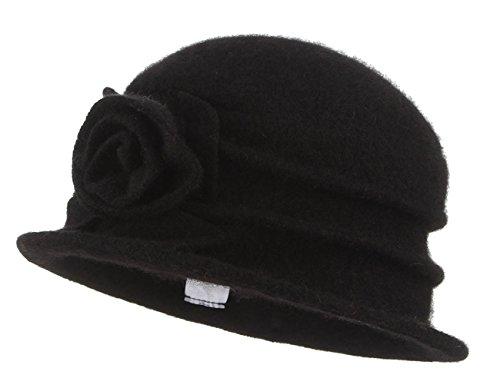 (GEMVIE Damen Vintage Mütze Trilby Hut Fedor Bucket Hut Wolle mit Blume 57cm Schwarz)