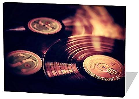 Vinyl Platten, Gemälde Effekt, schönes und hochwertiges Leinwandbild zum Aufhängen in XXL - 60cm x 40cm, echter Holzrahmen, effektiver Pigmentdruck, modernes Design für Ihr Büro oder (Zoom Film Kostüm)