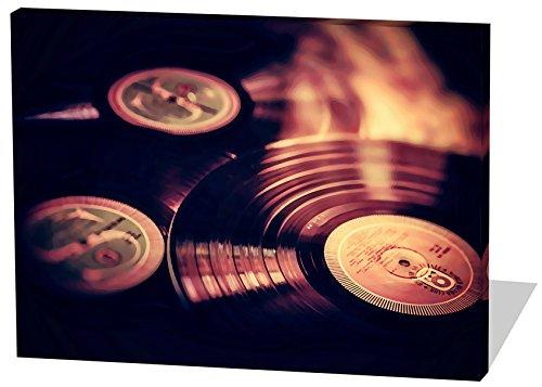 Vinyl Platten, Gemälde Effekt, schönes und hochwertiges Leinwandbild zum Aufhängen in XXL - 60cm x 40cm, echter Holzrahmen, effektiver Pigmentdruck, modernes Design für Ihr Büro oder Zimmer