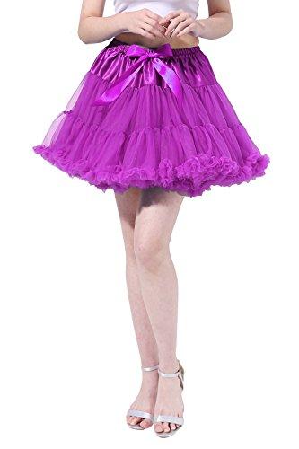 Poplarboy 50er Jahre Kurz Vintage Retro Unterrock Rock Ballett Blase 50er Tutu Petticoat für Hochzeit und Party S-M Violett (Black Swan White Swan Kostüm)