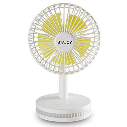 STAJOY Mini Tisch Schreibtisch Fan, Kleine persönliche USB-Ventilator Tragbar Wiederaufladbar batteriebetrieben 3Geschwindigkeiten, Leise und Nachtlicht für Home Office Outdoor Travel