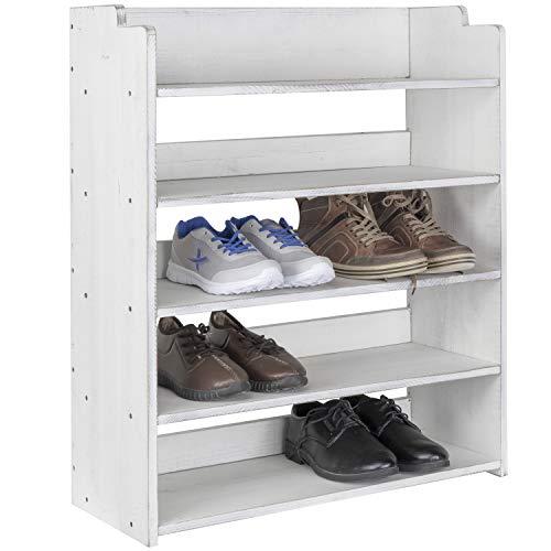 MyGift Schuhregal, Holz, 5 Etagen, Vintage-Stil, Weiß - Inspiriert Flachen Schuh