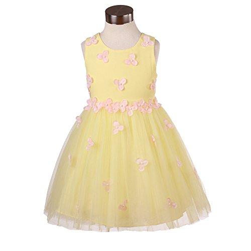 Super Cute Ragazze Abito Fiore Principessa Senza Maniche Formale Da Festa Matrimonio Abiti (4 (3-4 anni), giallo)