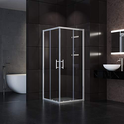 SONNI Duschkabine 80x80x195cm Eckeinstieg Duschabtrennung Doppel Schiebetür Echtglas Duschwand Duschtür