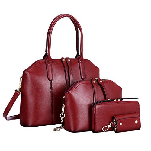 Longra Messenger Bag donne sacchetto di modo borsa a tracolla in pelle Rosso