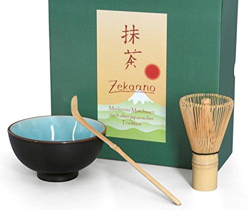 Té Matcha Juego de 3piezas, 250ml Color Azul Claro, diseño de efecto agrietado/Aricola–Cuenco para té matcha (Cuchara de bambú escoba, en caja de regalo, original Aricola width=