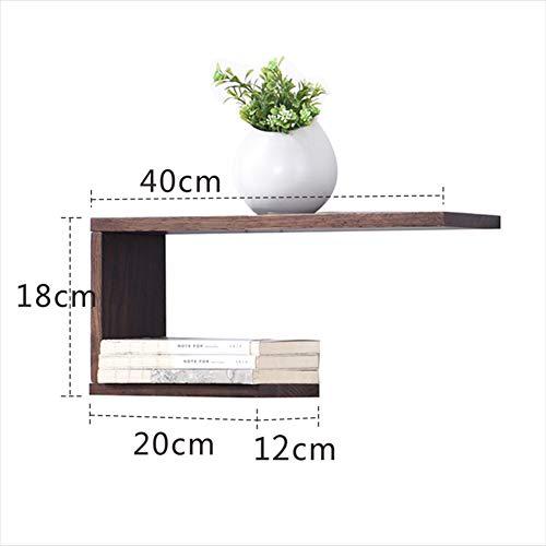 Liangliang mensole da muro stoccaggio design creativo sospensione abbellire rovere parete resistente semplice, 2 colori (colore : brown, dimensioni : 40x12x18cm)