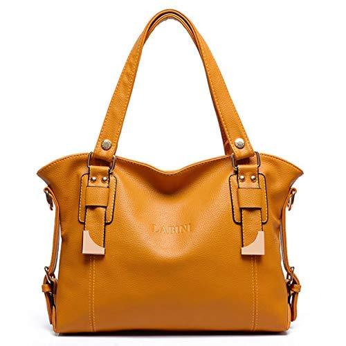 Love LIBINI Damen Henkeltaschen modische Schultertaschen Leder Shopper beiläufig Umhängetaschen Weiches Tasche Gelb -