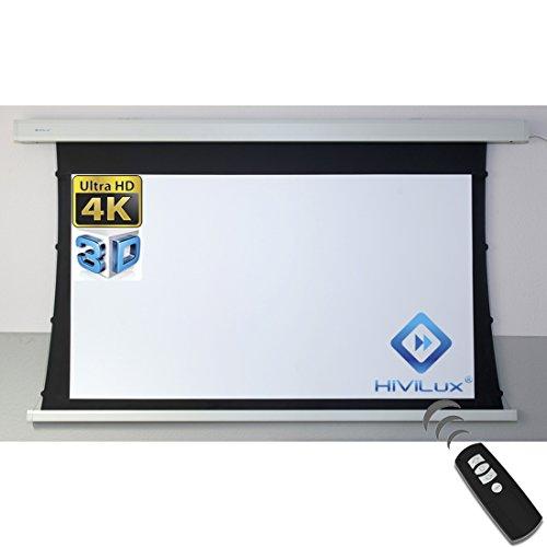 HiViLux TXN – Pantalla de proyector motorizada, ganancia 1,0, tela blanca profesional de pantalla de cine / 3D / 4K / UHD / estructura de aluminio / sin efecto brillante o puntos / sin telas ni fibra de vidrio