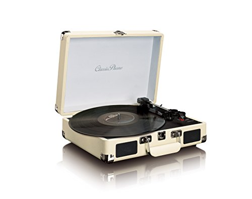 Phono TT-11 Plattenspieler aus Leder, Vinyl, mit integrierten Stereo-Lautsprechern und Bluetooth-Wiedergabe weiß