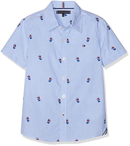 Tommy Hilfiger Jungen Mini Stripe Print Shirt S/S Hemd Weiß (Bright White 123) 176 (Herstellergröße: 16) (Junge Gestreiften Hemd)