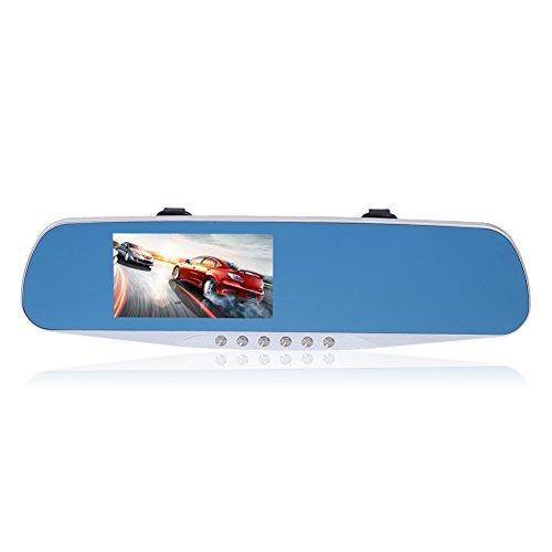 prettygood7Auto DVR Detektor Kamera Blau Review Spiegel DVR Digital Video Full HD Car Dash Cams DVR Built in G-Sensor Bewegungserkennung Loop Recorder Night Vision Night Vision R