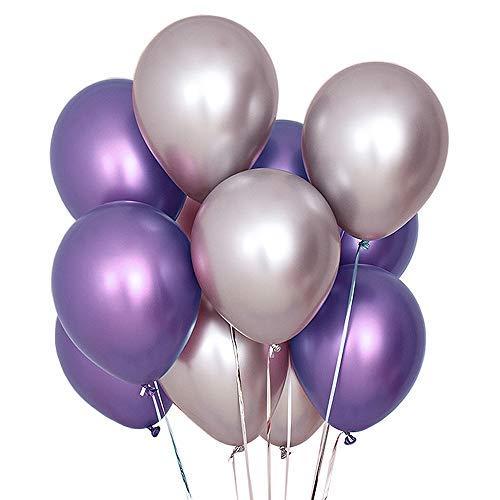 Jurxy Luftballons Metallic 50 Stück 12 Inch Partyballons Helium Luftballons Aufblasbare Luftballons Dekoration für Jugendweihe Mädchen Junge Geburtstag JGA Hen Party - Lila und Silber