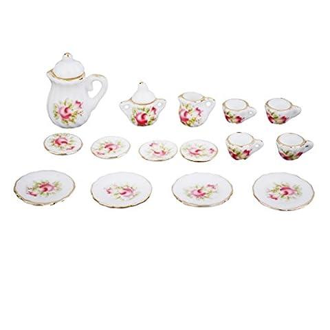 Gazechimp 15pc Maison De Poupée Miniature Vaisselle de Thé Porcelaine Motif Fleur Rose