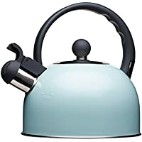 Kitchencraft Living Nostalgia - tetera de silbadora, para cocina de inducción y eléctrica, 1,4l (2,5pintas), estilo antiguo, metal, azul claro, 18 x 21.5 x 21 cm