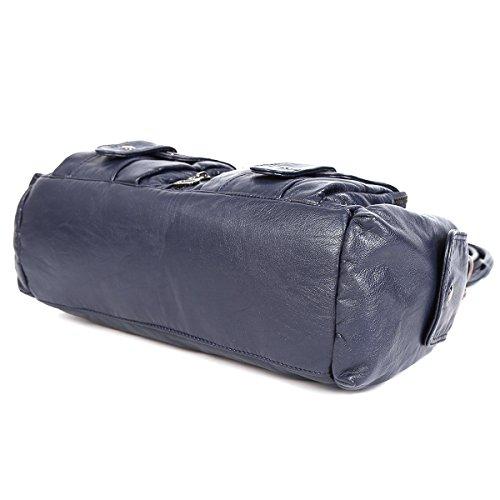 21KBARCELONA  2 Top Cerniere multi tasche Borse Lavato borse in pelle borse a spalla XS160198 Blu