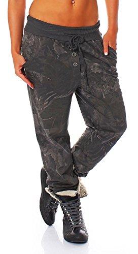 Malito Damen Jogginghose mit Jungle Print | Sporthose mit Muster | Baggy zum Tanzen | Sweatpants - Trainingshose 83728 (dunkelgrau)